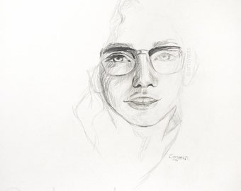 original drawing sketch illustration - portrait of a woman with glasses- actual sketchbook page - 11x14 inches