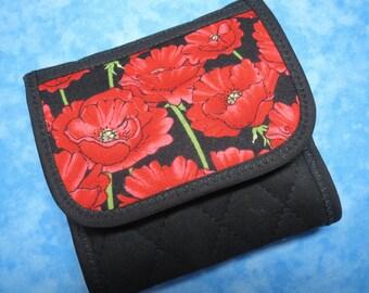 Women Wallet - Tea Wallet Fabric Wallet Travel Tea Bag Wallet Poppies Tea Bag Holder Small Wallet Vegan Wallet Ladies Wallet Floral Wallet