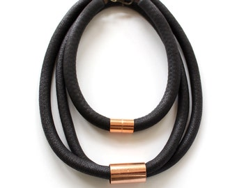 Combo Sale Black and Copper Multi Loop Stacked Rope Necklaces