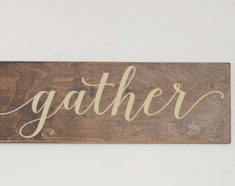 Gather Wood Sign, Stained Wood Sign, Thanksgiving, Harvest, Fall Wood Sign, Fall Decor, Gallery Wall, Holiday Wood Sign, Autumn Sign