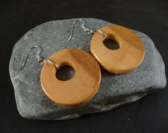 Round Wooden Dangle Earrings -  Maple Wood - natural eco friendly jewelry