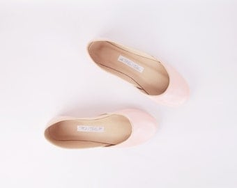 Blush Ballet Flats | Leather Ballerinas | Slip Ons | Simple Minimalist Chic Shoes | Flat Summer Shoes...Blush...Ready to Ship