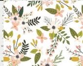 Crib Sheet - Blooms and Sprigs Blush Large - Fitted Sheet, Nursery Bedding, Girl Crib Sheet, Floral, Blush, Pink, White, Mustard, Grey