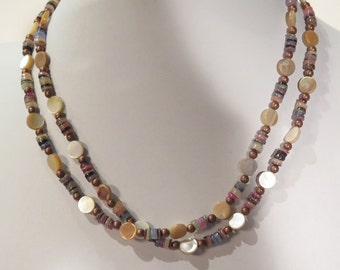 Necklace - Porcelain Beads - Mother of Pearl Beads - Long Can Be Doubled - Multiple Natural Earth Tone Colors