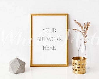 A4 Gold Frame - (Portrait)  Empty Frame, Stock Photo, Styled Photography, Mock up, prints, illustration, painting