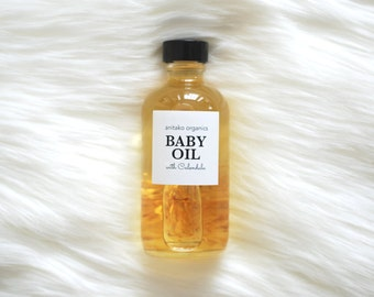 BABY OIL - Infused with Calendula, Organic Massage Oil, Vegan Baby Oil, Fragrance Free, All Natural