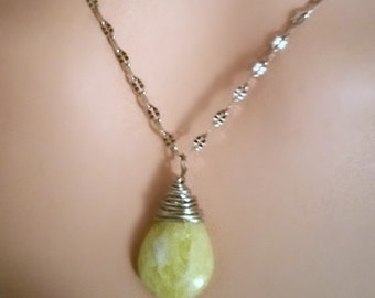 Organic wire wrapped cap secures teardrop pendant - Marbled Peridot Jasper gem - ornate delicate silver plated chain - Romantic Beauty