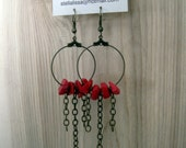 Loop Earrings - antique brass, red coral nugget gemstone, dangle, chain, circle, bohemian, eclectic, earthy