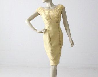 vintage 60s Pat Sandler wiggle dress, yellow lace cocktail dress