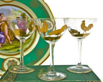 Vintage Crystal Cordials - Chanticleer Cordials, SET of 3, Gold Encrusted Roosters, c1950s
