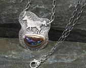 Wild Horse Necklace, Running Horse Necklace, Sterling Silver, Sparkling Boulder Opal, Two Horses, Appaloosa, Two-sided, Gift for Horse Lover