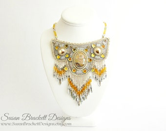 Beaded Bib Necklace Boho Chic Fashion Statement Necklaces Gold Bridal Jewelry Cocktail Western Bohemian Bib Necklaces Bead Embroidered Bibs