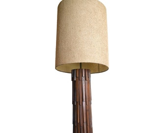 Large Mid Century Modern Table Lamp, Tall Wooden Mid Century Accent Lamp, End Table Lamp, Slat Wood Lamp Eames Era