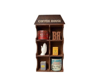 Vintage Coffee House Wooden Curio Display, Six Compartment Wall Display for Kitchen, Kitchen Shadow Box, Wall Decor