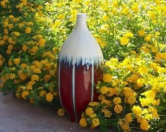 Vintage Designer Vase Maroon Color Base Frosted Fringe Home Decor Ceramic Vase Modern Decor 1980s