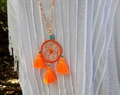 2 DAY SALE! Hippie Chic Dream Catcher Tassels Orange Long Beaded Necklace Jewelry