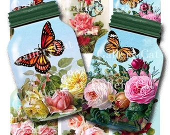 BUTTERFLY JAR COLLECTION Digital Collage Sheet Instant Download for Crafts Cards Tags Whimsical Altered Art Designs by GalleryCat cs304