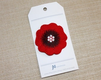 Red Poppy Hair clip for girls