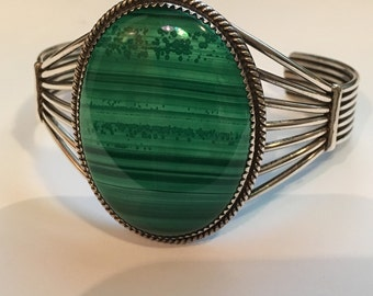 "Heavy Malachite Cuff BRACELET STERLING Silver Modernist 46.7 grams Bracelet 6.5"" and 1.5"" Opening"