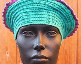 Aqua Green Colorful Crochet Hat...