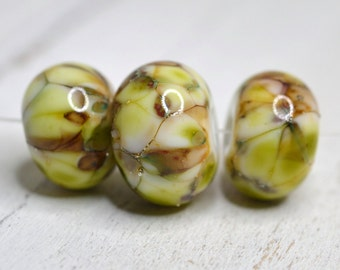 lamp work bead trio ....SRA handmade, earthy green/yellow and brown encased trio for making jewelry 60116-21