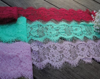 """1, 3 or 5 Yds of 3.5"""" Wide Mint Green, Pink Lilac Red Floral Lace Trim Bridal Wedding Eyelash Victorian Style Scalloped Lace Invitations FJT"""