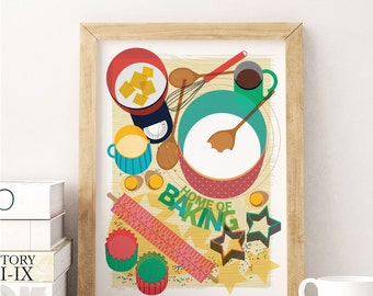 Art Print Home Of Baking Food Illustration Kitchen Decor