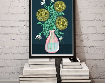 Chrysanthemum Art Print Floral Illustration Art