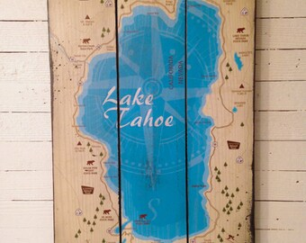 Lake Tahoe Map, Handcrafted Rustic Wood Sign, Mountain Decor for Home and Cabin, 3143