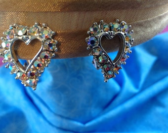 Vintage Rhinestone  Earrings, Rhinestone Heart Earrings, Clip On Earrings, Aurora Borealis Rhinestones