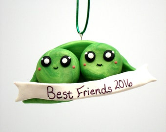 Best Friends Ornament BFF Ornaments Peas in a Pod Christmas Ornament Christmas Decoration Best Friend Gift Personalized Ornament