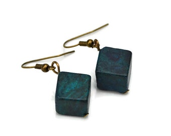 Blue Green Yellow Turquoise Cubes . Earrings