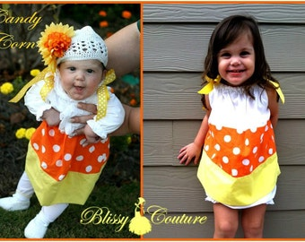 Candy Corn Dress Halloween Costume (Newborn - 5T)