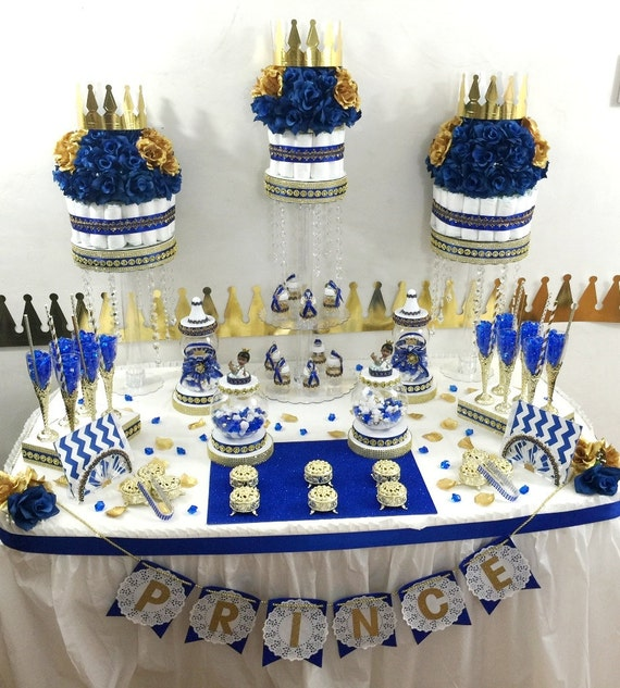 Royal blue and gold baby shower candy buffet diaper cake
