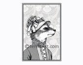 miss maple foxworthy - fox girl - 8.5 x 11 black and white print - portrait illustration