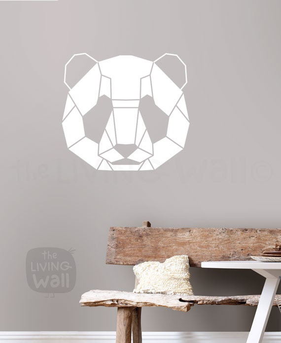 Geometric head panda decal home decor head panda geometric animals wall sticker australian made Home decor wall decor australia