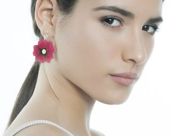 Flowers earrings, silver earrings, wooden earrings, wood flowers, long earrings,bohemian earrings,jewelry trends,wooden jewelry,boho jewelry