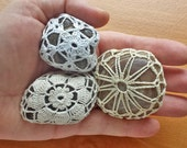 3 Crocheted Stones, Doily Covered Polished Stones, Crochet Rocks, Boho Wedding Table Decor and Favors, Textured Paper Weights