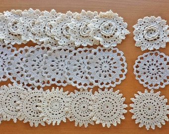 30 Small Crochet Doilies Mix, Beige Ecru Colors, Small Craft Doilies, Crocheted Flowers