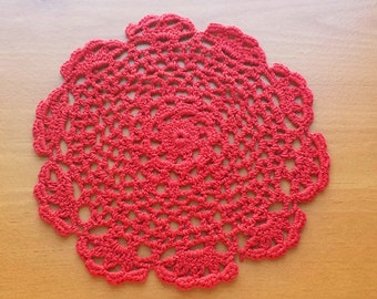 """Red Crochet Doily, approximately 8"""" size, Red Doily for Under Vases, Holiday Decor, Crafts"""
