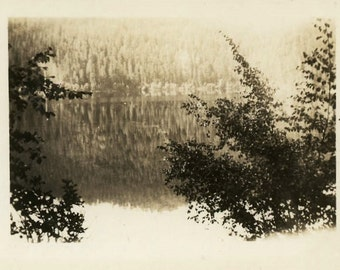 "Vintage Photo ""Hidden Lake and Beauty"" Landscape Snapshot Antique Photo Old Black & White Photograph Found Paper Ephemera Vernacular - 134"