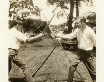 "Vintage Photo ""Real Men Use Swords"" Fighting Gun Snapshot Antique Photo Old Black & White Photograph Found Paper Ephemera Vernacular - 157"