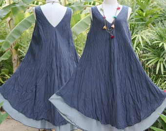 SALE, V Neck Sleeveless Cotton Summer Dress, Double Layer, Maternity Dress in Dark Blue, XL