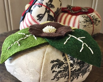 Hand Embroidered Pincushion - Toile with Leaves