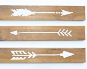 3 Piece Set Tribal White Wooden Arrows.  Rustic Home Decor. Arrow Decor. Wooden Arrow Wall Art. Wood Arrow Signs. Decorative Arrows. Painted