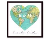 World Map Heart, Custom Initials, Long Distance Relationship, Boyfriend Gift, for Him, Anniversary Gift, Girlfriend Gift, For Her, Map Print