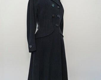 DAN MILLSTEIN  New Look 1940s 50s Princess Coat Extra Small Slate Blue