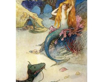 Mermaid Print   Sea Serpent Watches Mermaid Comb Hair   Repro Warwick Goble