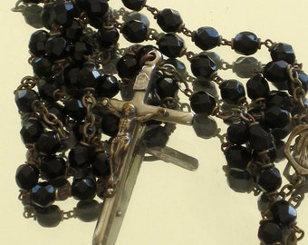 Antique French Faceted Jet Glass Mourning Rosary Virgin Mary Centre
