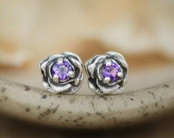 Dainty Amethyst Silver Rose Stud Earrings - Sculptured Flower Post Earrings - Amethyst Bridal Floral Solitaire Earrings - Purple Rose Stud